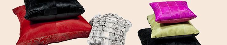 Декоративные подушки из шкур, кожи и меха