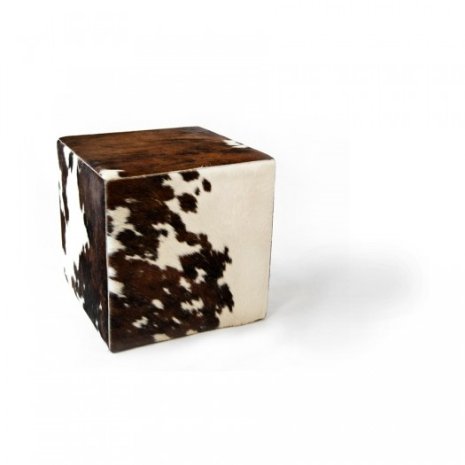 Чехол на пуф-куб из коровьей шкуры Tricolore