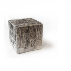 Чехол на пуф-куб из шкуры Light Grey Beige