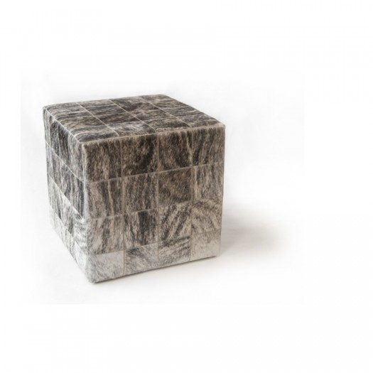 Чехол на пуф-куб из коровьей шкуры Light Grey Beige