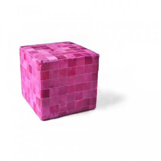 Чехол на пуф-куб из коровьей шкуры фуксия