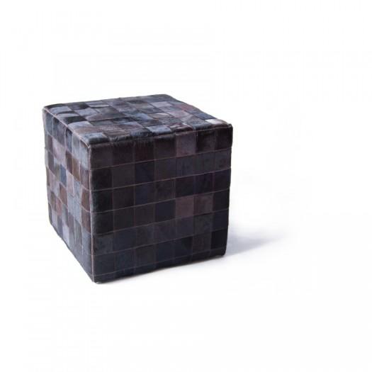 Чехол на пуф-куб из коровьей шкуры Mocca