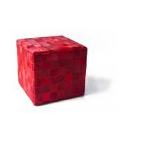 Чехол на пуф-куб из шкуры Rosso