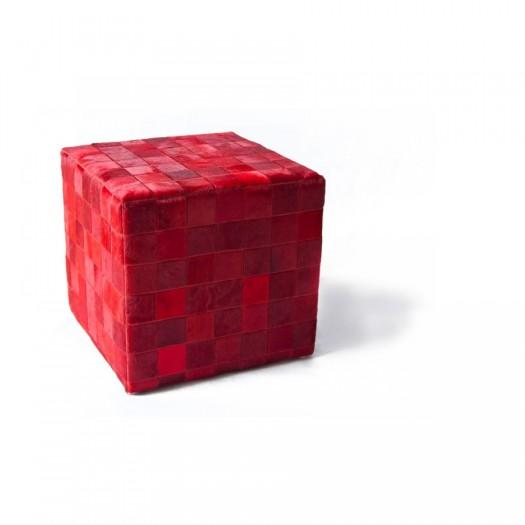 Чехол на пуф-куб из коровьей шкуры Rosso