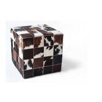 Чехол на пуф-куб из шкуры White Belly