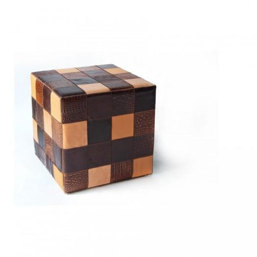 Чехол на пуф-куб из натуральной кожи Multicolor Brown