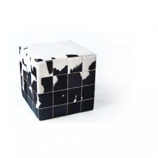 Чехол на пуф-куб из коровьей шкуры White Black