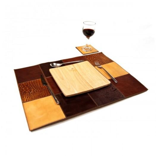 Декоративные салфетки и подставки из кожи для сервировки стола, набор на четыре персоны