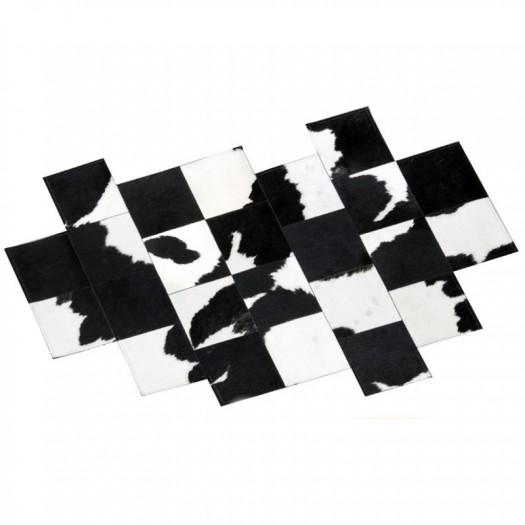"""Ковер из коровьей шкуры черно-белый """"Pixel"""""""