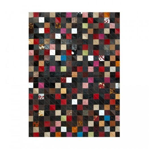 Ковер из кожи и шкуры многоцветный K-1577