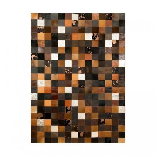 """Ковер из кожи и шкуры """"Mosaik Multicolor Brown K-1675"""""""