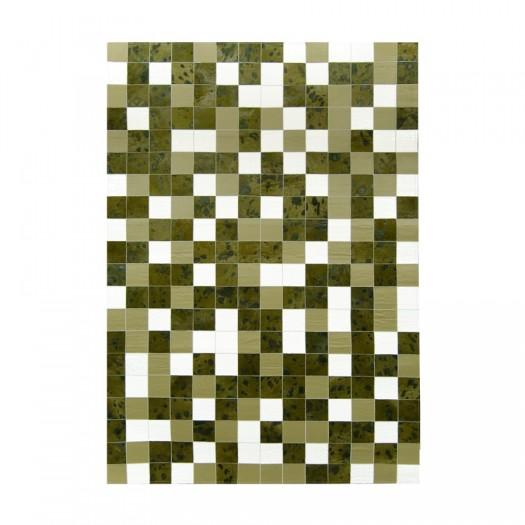 """Ковер из кожи и шкуры многоцветный """"Mosaik Multicolor Green K-1674"""""""