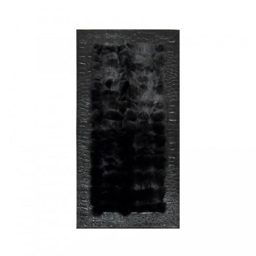 Прикроватный коврик из натурального меха лисицы черного цвета
