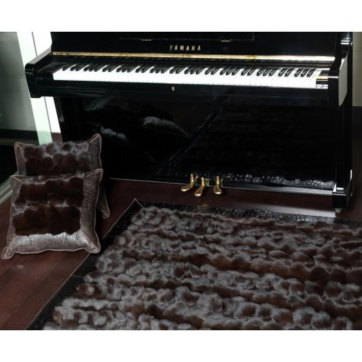"""Ковер из натурального меха лисицы темно-коричневого цвета """"KF-1524"""""""