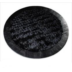Круглый ковер из меха лисицы черный