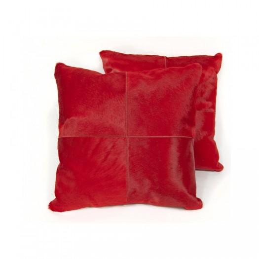 """Декоративная подушка из коровьей шкуры красного цвета """"Pd-12"""""""