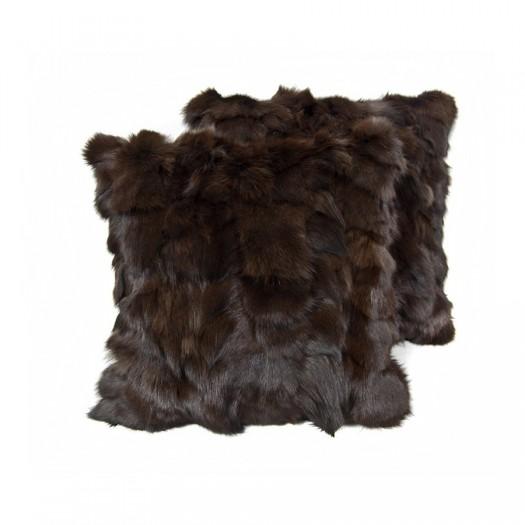 """Декоративная подушка из меха лисицы темно-коричневого цвета """"Pd-4"""""""