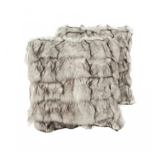 """Декоративная подушка из меха лисицы серо-белого цвета """"Pd-6"""""""